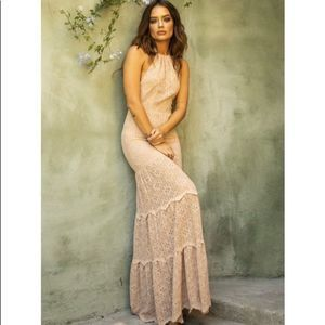 NIGHTCAP CLOTHING | Diamond Lace Halter Gown Small